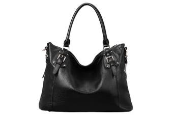 (A-Black) - S-ZONE Womens Ladies' Vintage Genuine Soft Classic Leather Tote Hobos and Satchel Crossbody Shoulder Bags (A-Black)