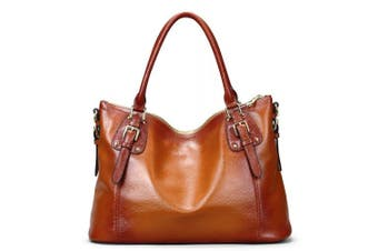 (B-Brown) - S-ZONE Womens Ladies' Vintage Genuine Soft Classic Leather Tote Hobos and Satchel Crossbody Shoulder Bags (B-Brown)