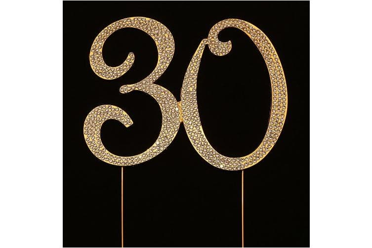 (11cm  Tall (Gold), Gold) - Numbrer 30 for 30th Birthday or Anniversary Cake Topper Party Decoration Supplies, Gold, 11cm Tall