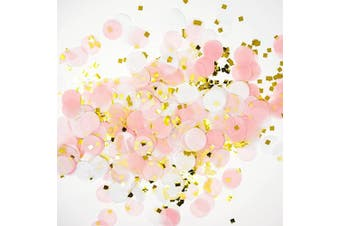 (pink,white,goldmylarflakes) - Premium 2.5cm Round Tissue Paper Party Table Confetti - 50 Grammes (Pink, White, Gold Mylar Flakes)