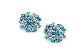 (Amanda Blue) - ElegantPark AM Women's Wedding Party Prom Decorative Crystals Clutchs Dress Hat Shoe Clips 2 Pcs