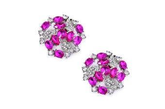 (Hot Pink) - ElegantPark AM Women's Wedding Party Prom Decorative Crystals Clutchs Dress Hat Shoe Clips 2 Pcs