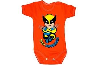 (0-3 months, 62 cm, Orange) - Colour Fashion Baby Wolverine Bodysuits Shortsleeve 100% Cotton 0-24 months 0007 (0-3 months, 62 cm, Orange)