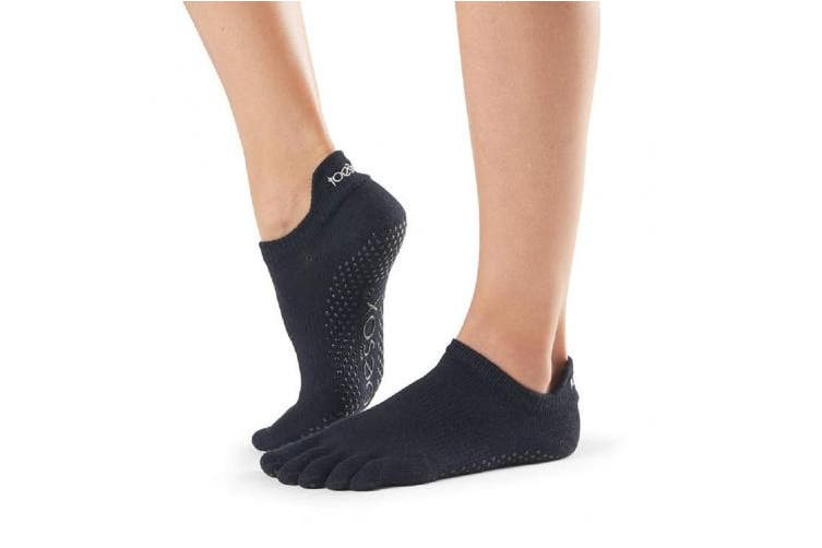 (Black, Large) - ToeSox Full Toe Low Rise Grip Socks