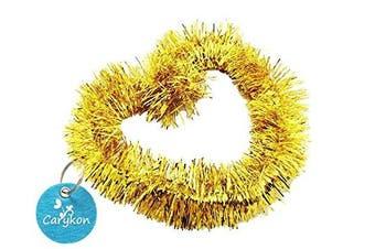 (Gold) - Carykon Elegant Hanging Sparkly Tinsel Garland, 5 Pcs, Each 7.6cm W x 1.8m L, Holiday Decoration (Gold)
