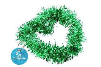 (Green) - Carykon Elegant Hanging Sparkly Tinsel Garland, 5 Pcs, Each 7.6cm W x 1.8m L, Holiday Decoration (Green)