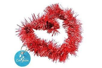 (Red) - Carykon Elegant Hanging Sparkly Tinsel Garland, 5 Pcs, Each 7.6cm W x 1.8m L, Holiday Decoration (Red)