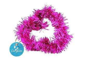 (Hot Pink) - Carykon Elegant Hanging Sparkly Tinsel Garland, 5 Pcs, Each 7.6cm W x 1.8m L, Holiday Decoration (Hot Pink)