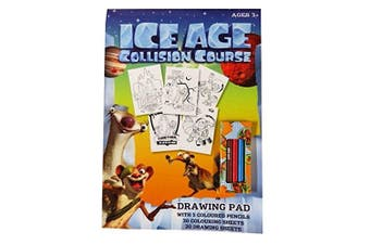 Ice Age Collision Course - A4 Drawing and Colouring Pad with Pencils - 30 Sheets Colouring, 20 Sheets White