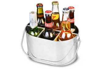 Galvanised Steel Bottle Caddy - Drinks Carrier with Handle for 33cl Beer Bottles