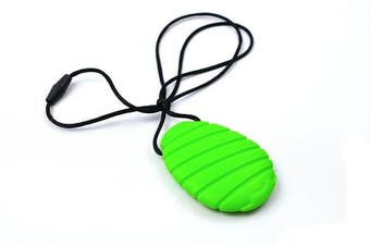(Green) - Bitey Beads Silicone Teething Nursing Pendant Necklace - Oval (Green)