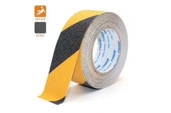 (5cm, Black and Yellow) - Anti Slip Adhesive Tape, Atemto Non Skid Abrasive Safety Tape 2inch 10m Traction Heavy Duty Industry Grade Anti-Slip Anti-Skid Tape Grit Tape for Stairs Porch Bathroom Kid The Old (5cm, Black/Yellow)