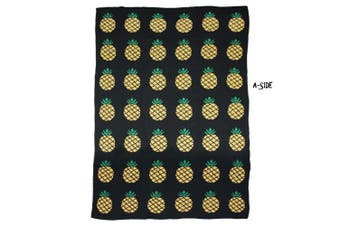 (43*130cm , I) - Brandream Kids Baby Pineapple Knitted Blanket Adults Summer Blanket Reversible