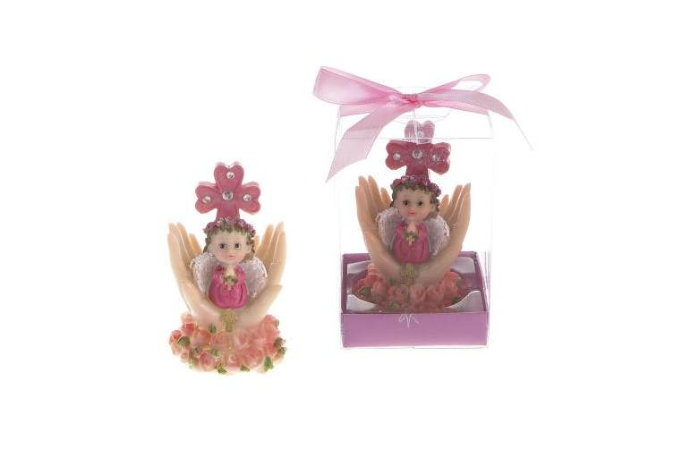 "Lunaura Religious Keepsake - Set of 12 ""Girl"" Baby on Palm Wearing Colour Clothes Praying Favours - Pink"