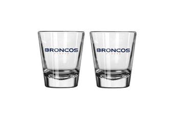 (Broncos) - NFL Football Team Logo Satin Etch 60ml Shot Glasses | Collectible Shooter Glasses - Set of 2