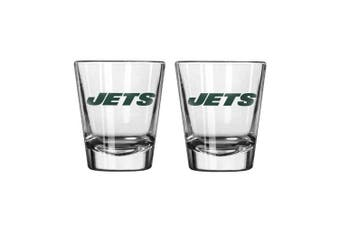 (Jets) - NFL Football Team Logo Satin Etch 60ml Shot Glasses | Collectible Shooter Glasses - Set of 2