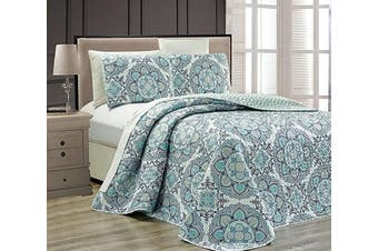 (King/California King, Blue) - Fancy Collection 3 pc Bedspread Bed Cover Modern Reversible White Navy Blue Light Blue New # Linda Blue King/California King Over Size 300cm x 240cm