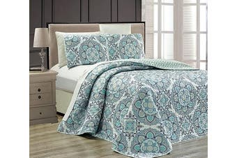 (Full/Queen, Blue) - Fancy Collection 3 pc Bedspread Bed Cover Modern Reversible White Navy Blue Light Blue New # Linda Blue Full/Queen Over Size 270cm x 240cm