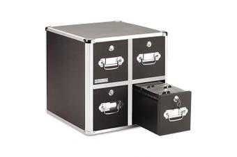 (4 Drawers) - Vaultz Locking CD File Cabinet, 4 Drawers, 15.25 x 36cm x 37cm , Black