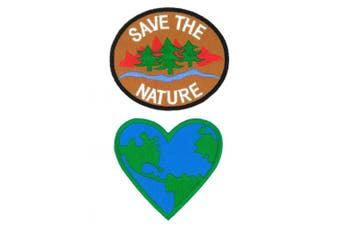 Peace007-SAVEHEART Save The Nature and Love Earth, 2 pcs Iron-on Applique Embroidered Patch