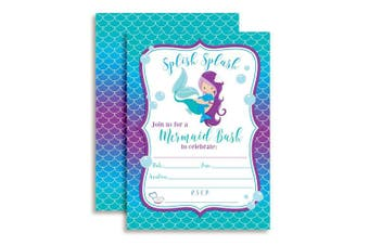 Magical Mermaid Birthday Party Invitations for Girls, Ten 13cm x 18cm Fill In Cards with 10 White Envelopes by AmandaCreation