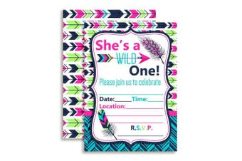 Wild One Girl, Tribal Boho Birthday Party Invitations Fill In Invitations, 10 13cm x 18cm Fill In Cards with 10 White Envelopes by AmandaCreation