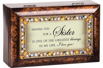 Sister Jewelled Dark Wood Finish Jewellery Music Box - Plays Tune You Light Up My Life