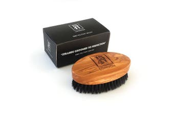 1541 London Military Hair Brush (Olive Wood) with Pure Black Bristle