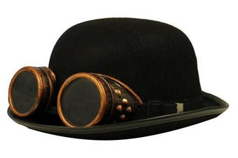 (BLACK BOWLER WITH BRONZE GOGGLES) - STEAMPUNK VICTORIAN BLACK BOWLER HAT WITH BRONZE GOGGLES - PERFECT STEAMPUNK FANCY DRESS ACCESSORY