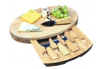 Large Oval Cheese Board Set With Integrated Drawer And 4 Specialist Cheese Knives