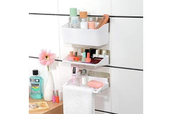 (Showers Caddy) - Adoraland Bathroom Organiser, Shower Caddy, Wall Shelf with Stick on Adhesive Pads 3 Tiers (White)
