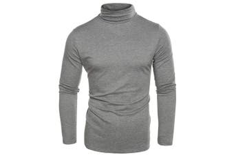 (X-Large, Gray) - Coofandy Men's Turtleneck Roll Neck Polo Necks Slim Fit Pullover Sweaters