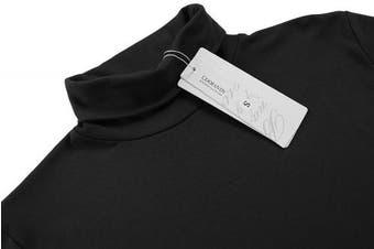 (X-Large, Black) - Coofandy Men's Turtleneck Roll Neck Polo Necks Slim Fit Pullover Sweaters