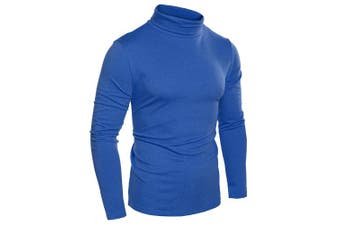 (Small, Blue) - Coofandy Men's Turtleneck Roll Neck Polo Necks Slim Fit Pullover Sweaters