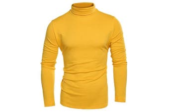 (Large, Yellow) - Coofandy Men's Turtleneck Roll Neck Polo Necks Slim Fit Pullover Sweaters