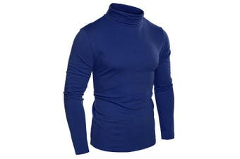 (XXX-Large, Dark Blue) - Coofandy Men's Turtleneck Roll Neck Polo Necks Slim Fit Pullover Sweaters