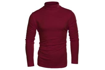 (Small, Wine Red) - Coofandy Men's Turtleneck Roll Neck Polo Necks Slim Fit Pullover Sweaters