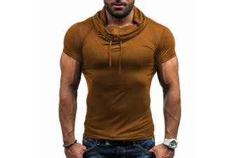 (UK XS, Brown) - CHIC-CHIC Men's Casual Short Sleeve T-Shirt Tank Tops Sports Athletic Running Jogging Gym Fitness Exercises Top
