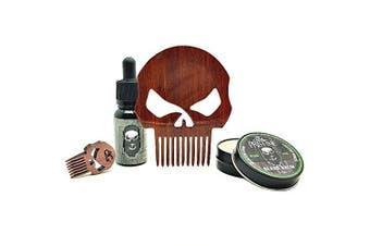 "Punisher ""Bang"" Beard Comb & Care Kit: Beard Oil | Beard Balm | Full Size Punisher Comb | Punisher Balm Comb"