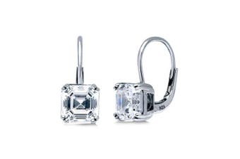 BERRICLE Rhodium Plated Sterling Silver Cubic Zirconia CZ Solitaire Leverback Dangle Drop Earrings