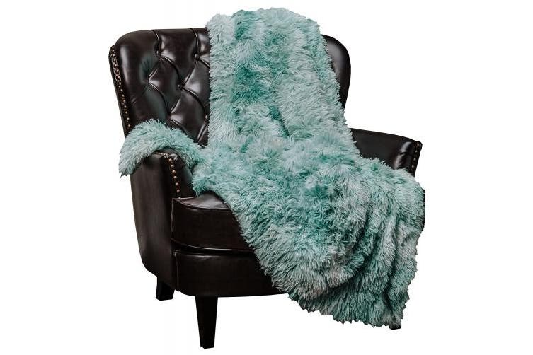 (Aqua) - Chanasya Super Soft Shaggy Fuzzy Fur Fluffy Faux Fur Warm Elegant Cosy with Sherpa Colour Variation Pattern Print Plush Aqua Teal Throw Blanket (130cm x 170cm ) - Turquoise Blue
