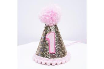 Mini Pale Gold Glitter Cake Smash Birthday Party Cone Hat w/ Pom Pom Top - Baby to Toddler Size (Pink Pom, Pink #1)