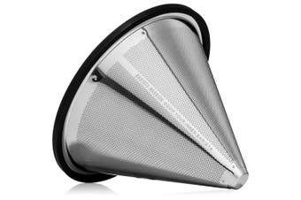 (Stainless Steel) - POUR OVER COFFEE FILTER - Reusable Stainless Steel Coffee Filter Cone for Chemex, Hario V60, and Other Pour Over Coffee Makers
