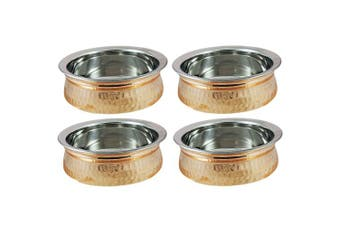 (4 Bowl For Seveware) - Set of 4 - Copper Tableware Serving Bowl - Indian Serveware Set - Dia 13cm
