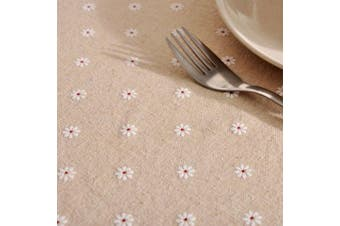 (Rectangle/Oblong, 140cm *180cm , Daisy) - ColorBird Daisy Flower Cotton Linen Tablecloth Macrame Lace Dustproof Table Cover for Kitchen Dinning Pub Tabletop Decoration (Rectangle/Oblong, 140cm x 180cm , Daisy)