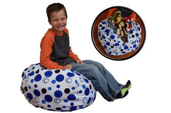 (70cm , Blue Polka Dot) - Creative QT Stuff 'n Sit - Stuffed Animal Storage Bean Bag Chair for Kids - Pouffe Ottoman for Toy Storage - Available in 2 Sizes and 5 Patterns (70cm , Blue Polka Dot)