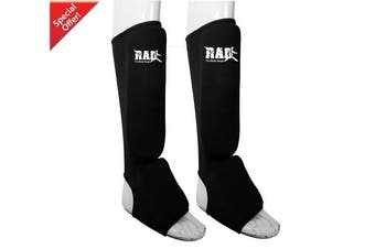 (X-Large) - RAD MMA Shin Instep Foam Pad Support Boxing Leg Guards Foot Protective Gear Kickboxing Black