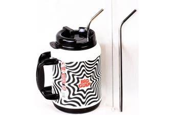 2 Big Gulp 29cm JUMBO Stainless Steel Straw 1890ml LONG Drinking Wide Insulated Whirley Travel Mug 7-11 Truck Stop Cup