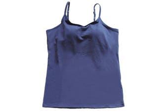 (Medium, Navy Blue) - BIFINI Women's Adjustable Padded Bra Camisole Top Sleeveless T-Shirt, Colours