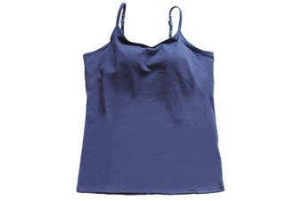 (Small, Navy Blue) - BIFINI Women's Adjustable Padded Bra Camisole Top Sleeveless T-Shirt, Colours